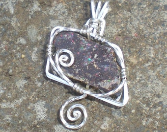 Koroit Boulder Opal Sterling Silver Wire Wrapped Pendant
