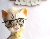Silly Vintage Ceramic Cat In Glasses. Has Fur And Looks Smart