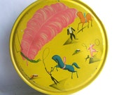 Sunshine Yellow Storage Tin with Circus Graphics