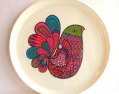 1960s Colorful Melamine Bird Plate