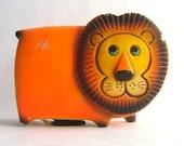 Mid Century Orange Lion Bank Figurine