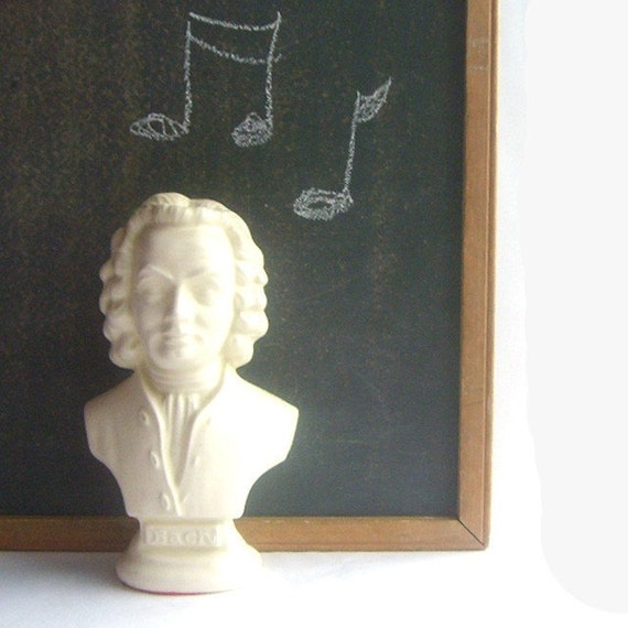 Vintage White Ceramic Music Composer Bust