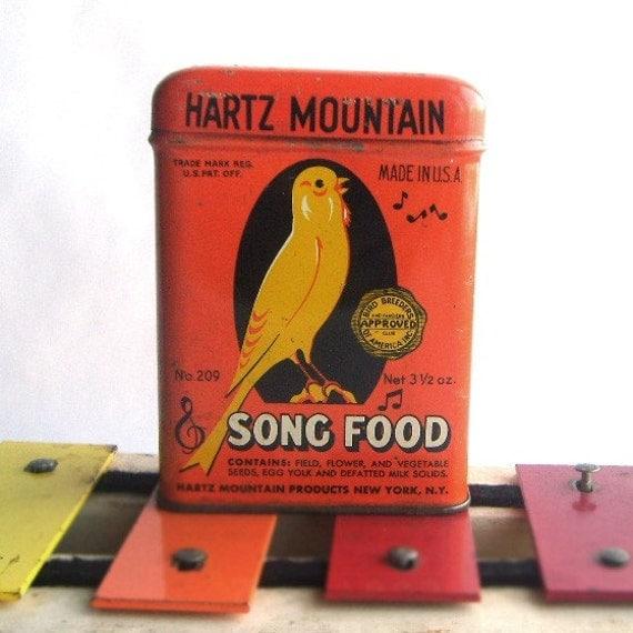 Vintage Yellow Canary Bird Food Storage Tin