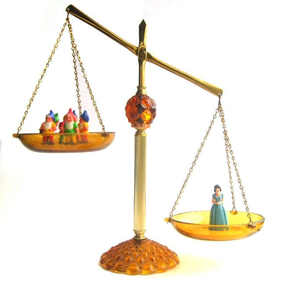 1960s Amber Glass Balance Scale