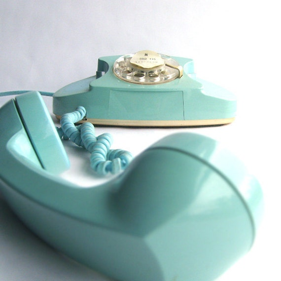 Turquoise Blue Rotary Princess Phone