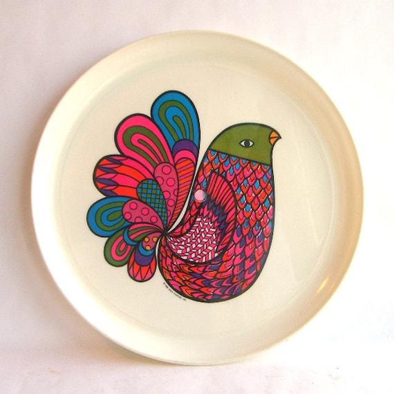 1960s Colorful Melamine Bird Plate