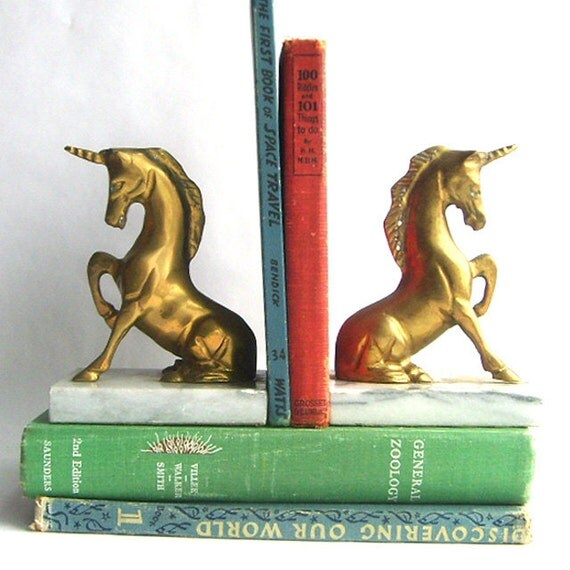 Solid Brass and Marble Unicorn Bookends