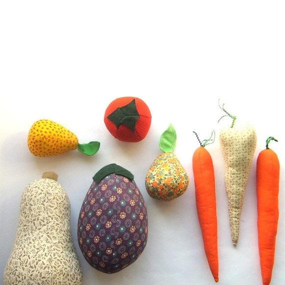 Set of Handmade Fabric Fruit and Veggies