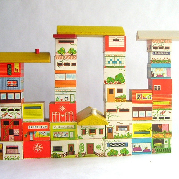 Set of Wooden House and Cityscape Blocks