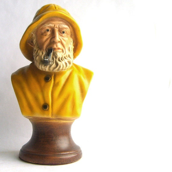 Nautical Pipe Smoking Man of the Sea Ceramic Bust