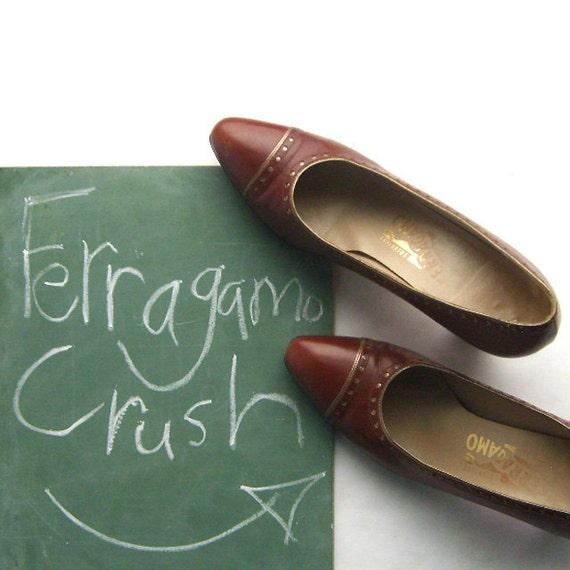 Vintage Salvatore Ferragamo Brown Leather Pumps Size 7.5