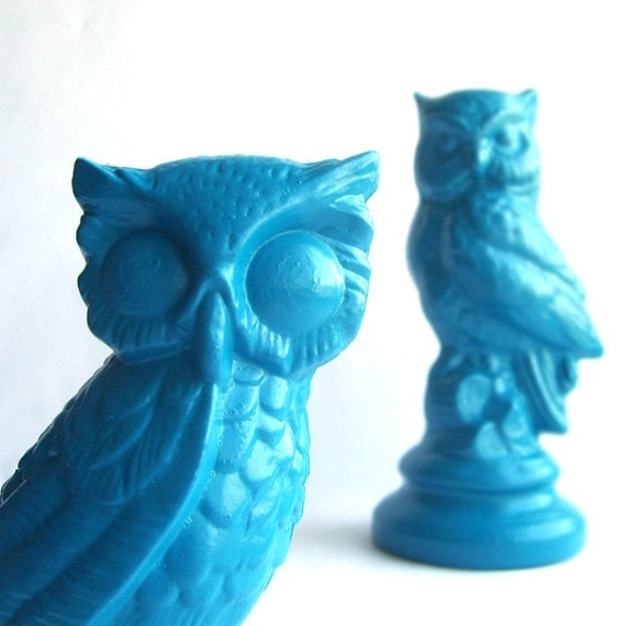 Pair of Upcycled Teal Blue Vintage Ceramic Owls
