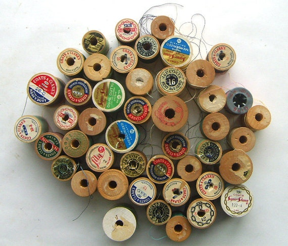 Collection of Vintage Wood Thread Spools