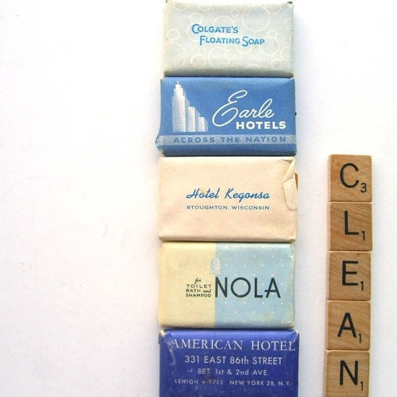 Vintage Miniature Hotel Bar Soaps In Blue