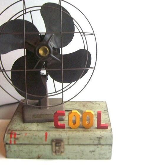 Vintage Electric Brown Metal Fan For Display