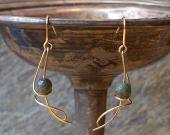Heather Gold-filled and African Turquoise Hand-crafted Earrings