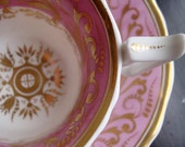 Pink and Gold Teacup and Saucer