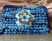 Upcycled Wallet - Blue Flower Plarn and Yarn