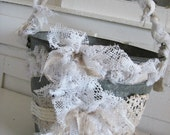 Tattered Antique Lace Galvenized Pail - Chic Farmhouse - Beautiful for Weddings -