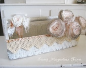 Shabby White Wood Tote - Carry All - Romantic Lace - Rosette - Vintage Pink - Chic Cottage Farmhouse -
