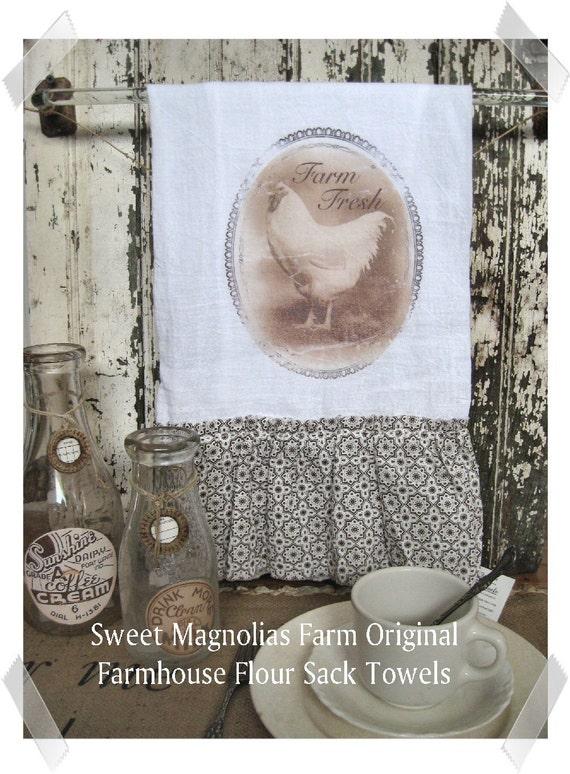 Flour Sack Kitchen Towel ..Farm Fresh Chicken ...for your Home, Farmhouse or Cottage
