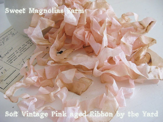 Romantic Aged Crinkled Vintage Pink Seam Binding by the Yard for your Pleasure ..