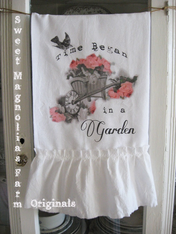Flour Sack Kitchen Towel ...Shabby Cottage Garden Wheelbarrow with Roses ...for your Home, Farmhouse or Cottage