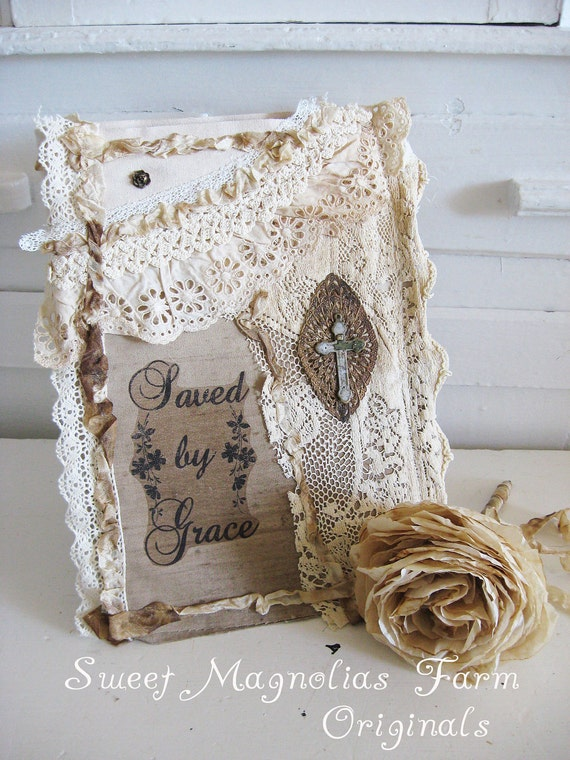 Rustic Romance Lace Journal -Inspiration - Scripture - Saved By Grace - Removable Slipcover - Perfection for scrapbook - Bible Journal