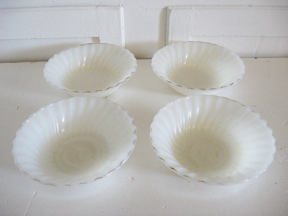 Vintage Milk White Fire King Cereal Bowls - Anchor Hocking - Swirl Golden Shell - Set of 4