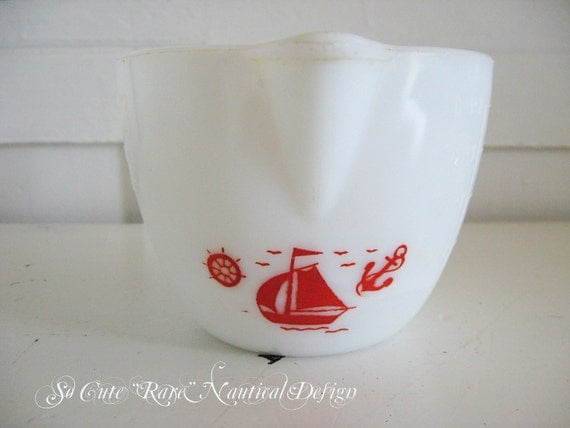 Vintage Milk Glass Red Ship Measuring Cup - McKee - 1930's - Beach Cottage Cutie - Rare Find