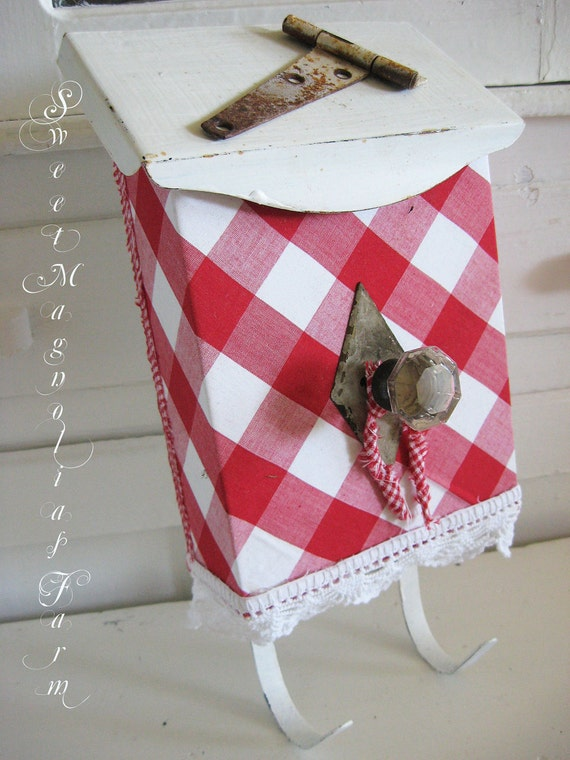 Vintage Upcycled Mailbox - Red Check Gingham and Lace - Vintage Hardware - Farmhouse Chic