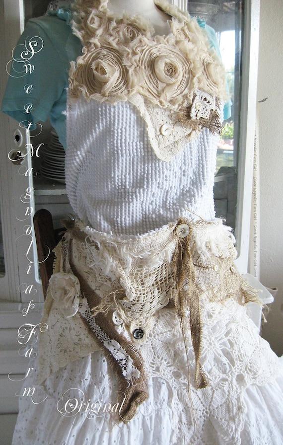 Vintage Chenille Apron - Tool Style Apron - Bib Apron - Rustic Romance -.Custom Vintage Apron  - 4 the Vintage Girl