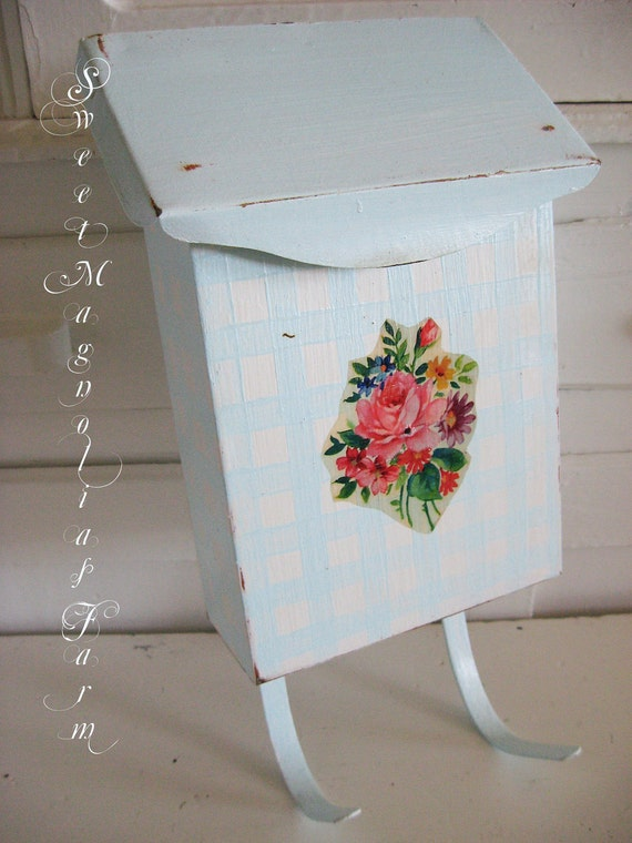 Vintage Mail Box - Upcycled - Handpainted Gingham - Aqua and White - With Floral Decals - So Cottage Sweet