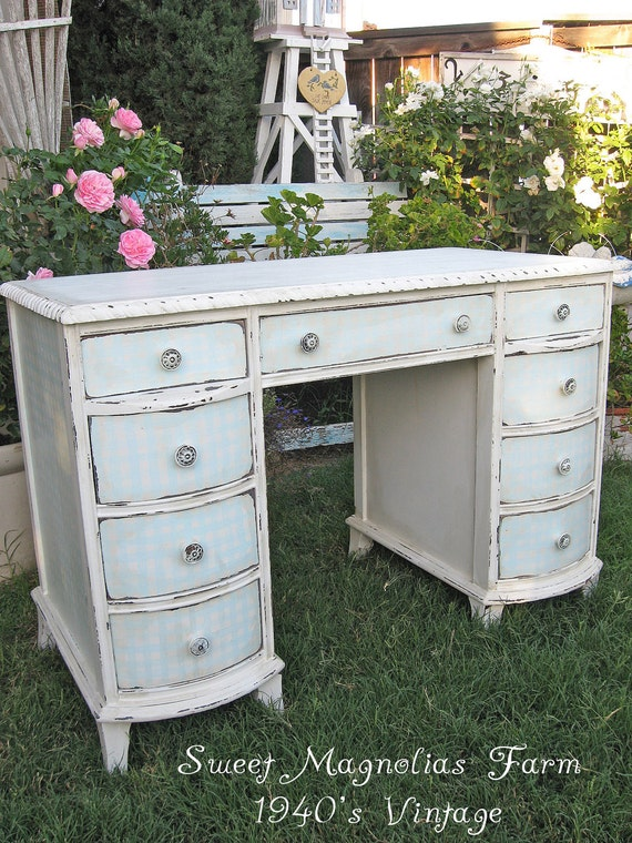 Vintage 1940's Desk or Vanity - Handpainted Aqua and White Check - Gingham - Bow Front Drawers - So Charming