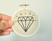 White Diamond Ornament - wedding gift, bachelorette gift, Embroidery Hoop, Home Decor