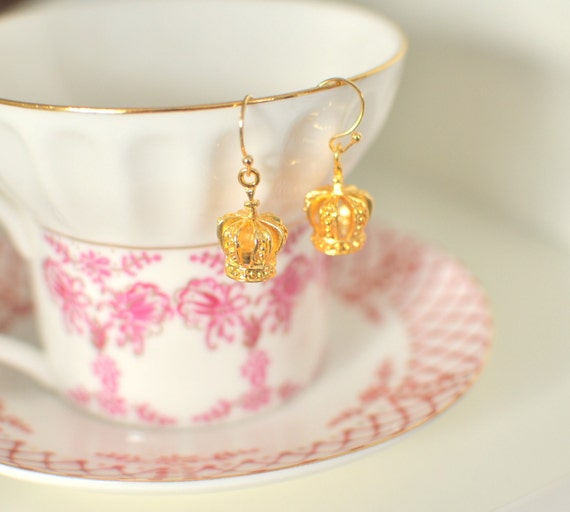 CLEARANCE Queen for a Day - Small Gold Crown Earrings