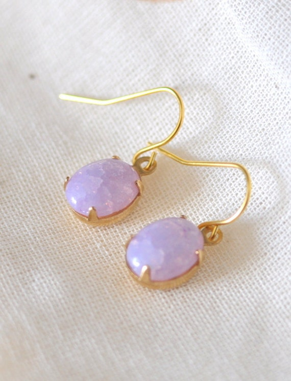 CLEARANCE Vintage Amethyst Opal Dangle Earrings