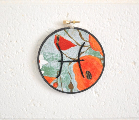 CLEARANCE - Pisces Astrology Embroidery, Fiber Home Decor, Wall Art
