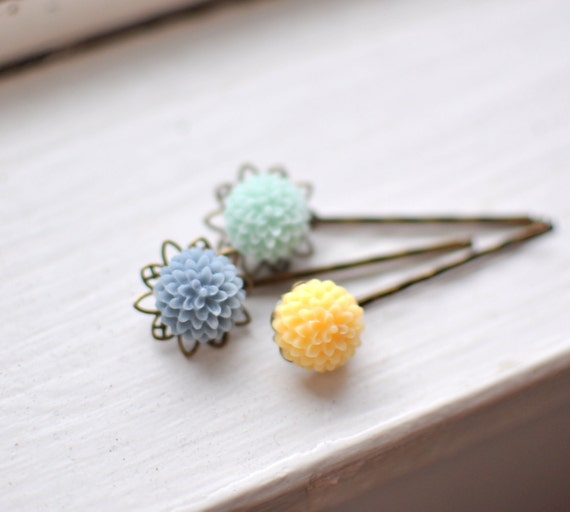 Mellow Spring Bouquet. Floral Bobby Pin Hairpins