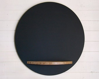 Round Chalkboard - 23 Inch Diameter, Modern Hanging with Bamboo Plywood Tray