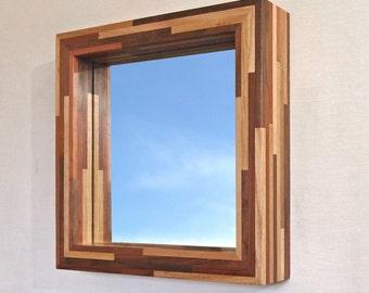 Modern Hanging Mirror with a Handmade Wood Frame, 14 X 14 Woodstrip in Dark