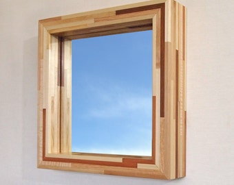 Mirror with Modern Wood Frame, 14 X 14 Woodstrip in Light. Hanging or Freestanding.