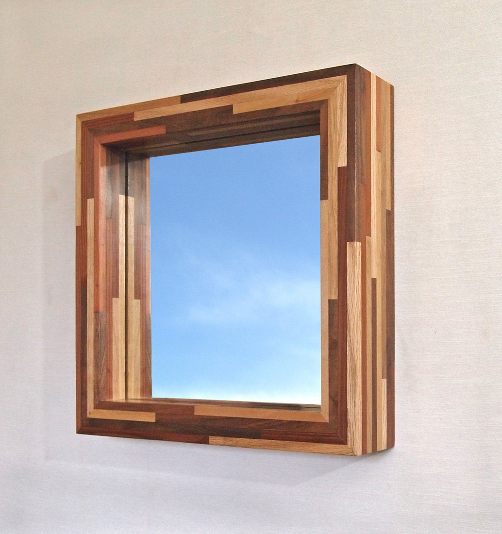 modern hanging mirror with a handmade wood frame 14 x 14