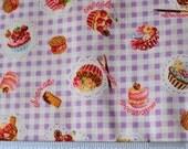 purple checker sweets fabric from Japan - last half yard