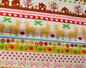 green / pink fabric with cute lama, squirrel and flower from Cosmo Japan - half yard
