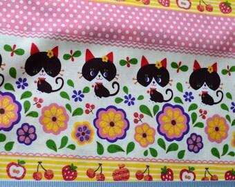 Cute black cat / kitty fabric from Japan Kokka - half yard