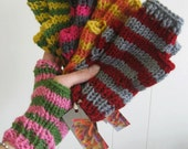 Custom Hand Knit Fingerless Gloves-Stripes or Solid