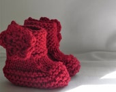 Red Baby Booties with Crochet Flower 0-9 months