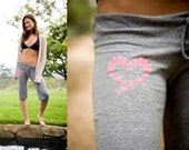 HEART SKULL Recycled Eco Crop Pants (fluo pink graphic on eco heather grey yoga pants)