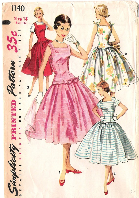 Vintage Simplicity 1140 1950's Sewing Pattern Size 14 Full Skirt dress
